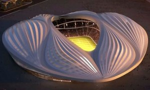 The design for Qatar's Al-Wakrah 'vagina' stadium. Zaha Hadid says it is inspired by Arab dhows