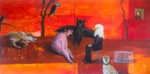 İki adamın sohbeti (Two men conversation) - Agula Swoboda - Polonya (akrilik kanvas)
